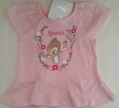 DISNEY BAMBI Licensed Baby Girl tee t shirt top tee pink cotton NEW sizes 000-1