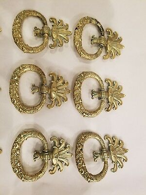 Antique Set of 6  Bronze Drawer Pulls Empire or English Regency from PEG NY