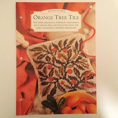 Needlework pattern: Orange tree tile tapestry design and instructions