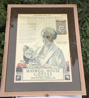 Original Framed 1923 Saturday Evening Post Maxwell House Coffee Newspaper Ad