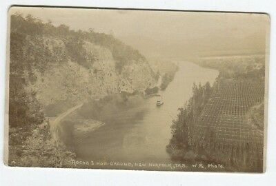 Tasmanian Postcard Rocks & Hop-Ground, New Norfolk , W.s.? Photo, Early 1900's