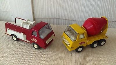 Vintage 1960's Tonka Pressed Steel Fire Truck & Cement Mixer Toy LOT NICE!