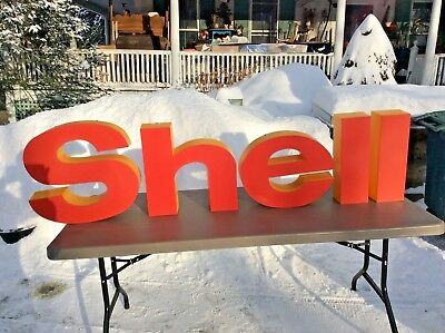 Vintage Shell Letters Oil Gas Automotive Advertising Sign