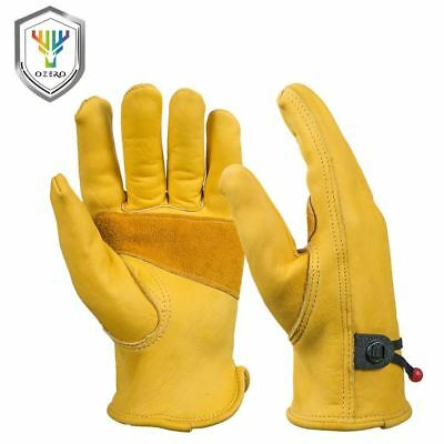 OZERO New Men's Work Driver Gloves Cowhide Leather Security Protection Wear Safe