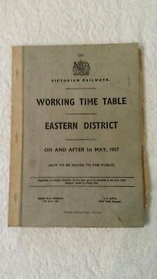 Victorian Railways,1967 Working Time Table.Eastern District.Will Not Relist Item