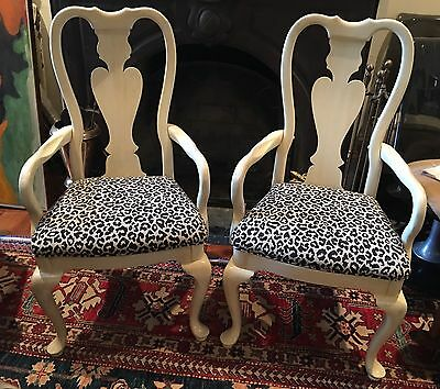 Pair Queen Anne Style White Leopard Print Upholstered Arm Chairs Hollywood
