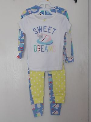 Girls Size 3T Carter's 2-Piece Pajama Sets 2 Pairs NWT