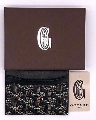Goyard Wallet Card Holder St. Sulpice New Black Brown Leather ID High Quality US
