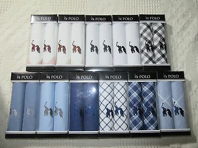 Men's Polo 100% Cotton Embroidered Handkerchiefs 2 Pack