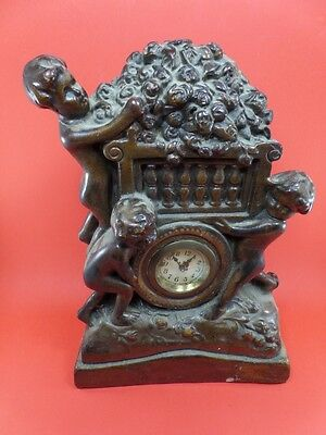 Antique and great Clock plaster patinated bronze M39 removal Vintage
