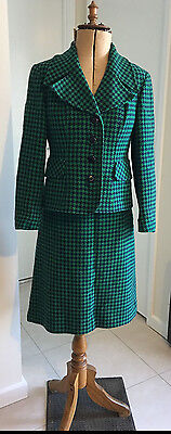 Vintage Woollen Skirt Suit - green and navy (great jacket) 10-small 12