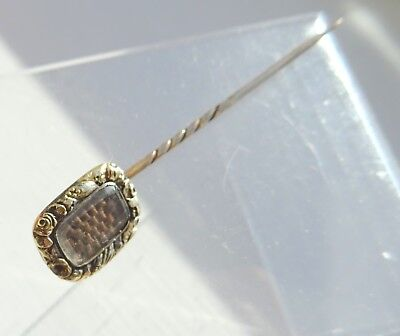 Georgian  Gold and Plaited Hair Mourning Stick Pin