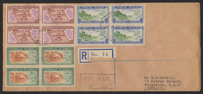 TOKELAU Is 1948 Village  set in blks of 4 Registered FDC cover to Australia