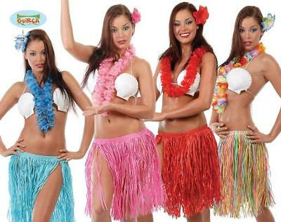 Set Hawaiano Gonna Collana e Fiore Carnevale Donna Hawaiana Festa Party Hawaii