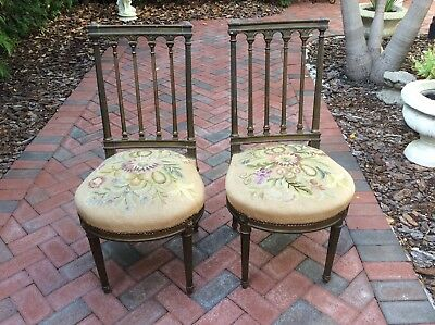 Pair of French Antique Shabby Carved Tapestry Needlepoint Side Chairs