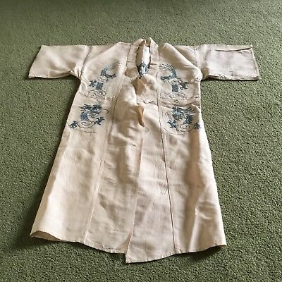 Vintage Child's Silk Dressing Gown With Dragon Embroidery