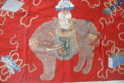 Antique Chinese embroidered red wool hanging with elephant, gold thread
