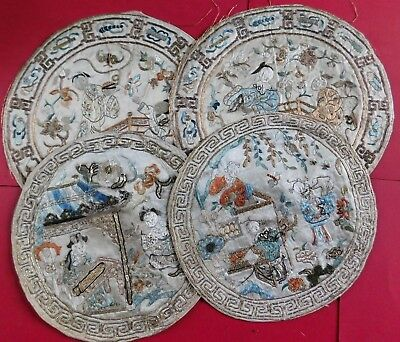 x4 ANTIQUE CHINESE SILK EMBROIDERED ROUND MATS, GOLD THREAD / FIGURES