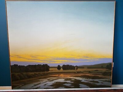 "Very large 66.5"" x 60.2"" oil painting on canvas of landscape by P Hardy 1995"