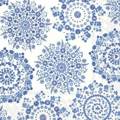 3 Paper Napkins for Decoupage / Tea Parties / Weddings - Blue Lilly