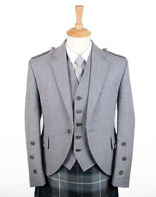 Traditional Light Grey Arrochar Tweed Braemar Jacket & 5 Button Vest - Long Fit