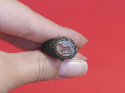 Ancient Roman Bronze Broken Ring with Carnelian Intaglio Stone with Dog 1854H