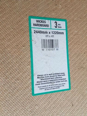 3.75 sheets of Wickes hardboard 3mm thick 2440 x 1220mm - used