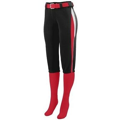 (Ladies XL, Black with Red/White Side Pipping) - Girls/Ladies Softball Low