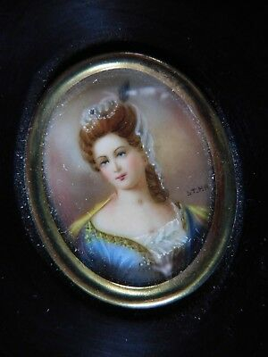 Vintage Hand Painted Framed Portrait Miniature, Signed With Initials St.hh