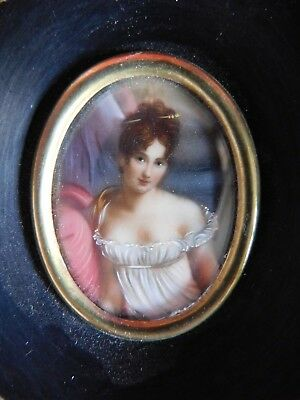 Vintage Hand Painted Framed Portrait And Torso Miniature