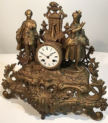 """Gorgeous French Empire Bronze Figural Antique Mantel Clock Japy Freres 1835 15"""""""