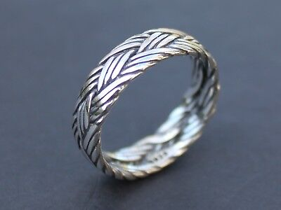 Ladies Mens Solid 925 Sterling silver braided ring 6mm band Father's day gift