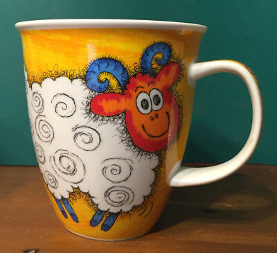 Funky Farm Dunoon Jane Brookshaw Yellow Orange Large Nevis Mug sheep chicken (3)