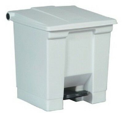 Rubbermaid Commercial White Bin Step on Container 30.3 L Heavy Duty Pedal Trash