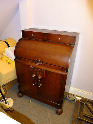 Dark wood Bureau circa 1930's in oak? with original ink well & bun feet