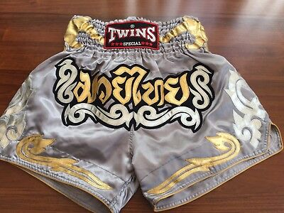 Twins Special Muay Thai/Boxing Shorts Adults Size XL(grey/silver)