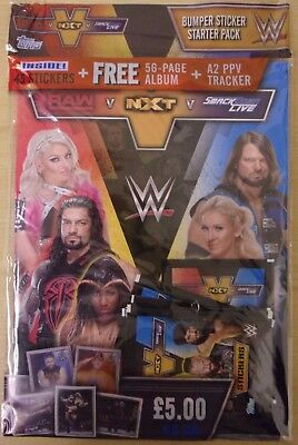 WWE Raw v NXT v Smackown Live ~ Topps Sticker Collection Starter Pack