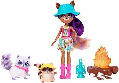 Enchantimals ~ Campfire Friends Set ~ Inc Raelin Raccoon Doll & 2 Raccoon Pets