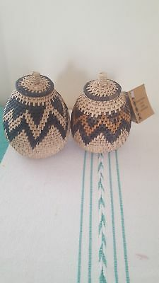 Set of Two (2) African Zulu Herb Baskets  -Free Shipping