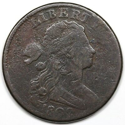 1802 Draped Bust Large Cent, Stemless, VG-F detail