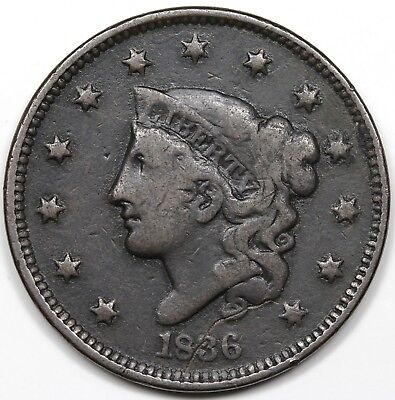 1836 Coronet Head Large Cent, F-VF detail