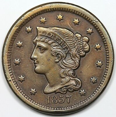 1857 Braided Hair Large Cent, Small Date, AU detail