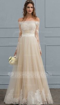 Off the shoulder gown ivory champagne lace floor length wedding dress size 10