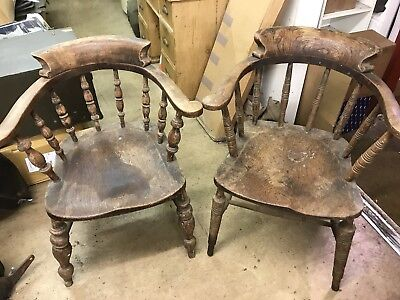 Pair Of Antique Edwardian Captains Chairs