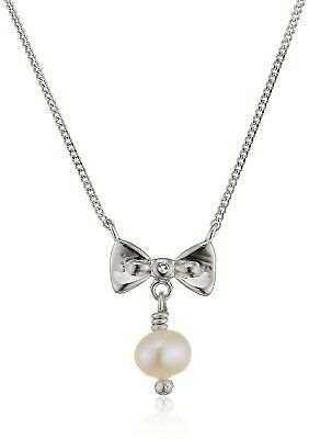 D for Diamond Bow and Pearl Necklace of Length 40cm. Huge Saving
