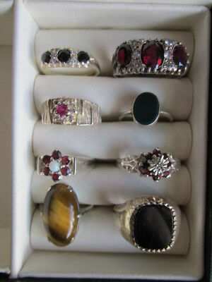 A Good Job Lot Of Eight Vintage/antique Silver Rings