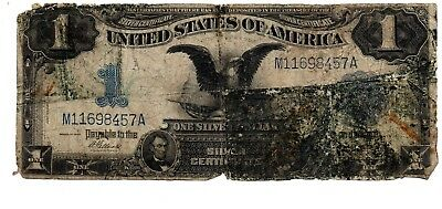 1899 $1. Black EAgle Silver Certificate, Elliott -Stained