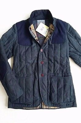 Barbour Dept. (B) Dragh Men's Waxed Cotton Jacket - Navy, Size Small