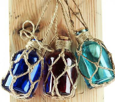 Set Of 3 Nautical Glass Bottles In Fishing Net Rope - Decorative Ornament
