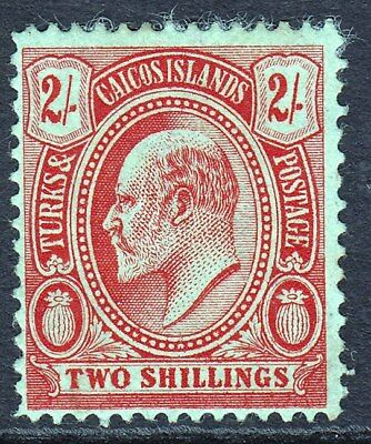 Turks Islands 1909-11 KEVII 2/- Red/Green Mint MH SG125 CV£45